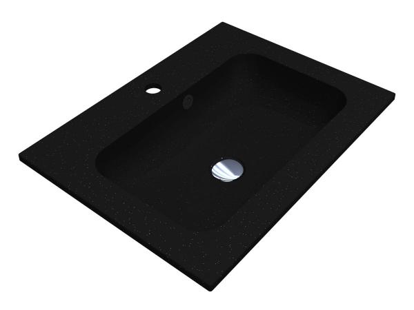Умивальник DELLA 600 BLACK з кварцевого піску - 1